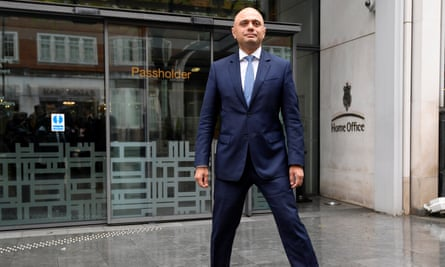 Sajid Javid strikes a pose outside the Home Office after being named as Home Secretary, April 30, 2018.