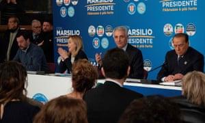 From left: Matteo Salvini, Giorgia Meloni, Gaetano Quagliariello and Silvio Berlusconi attend a joint press conference in Pescara.