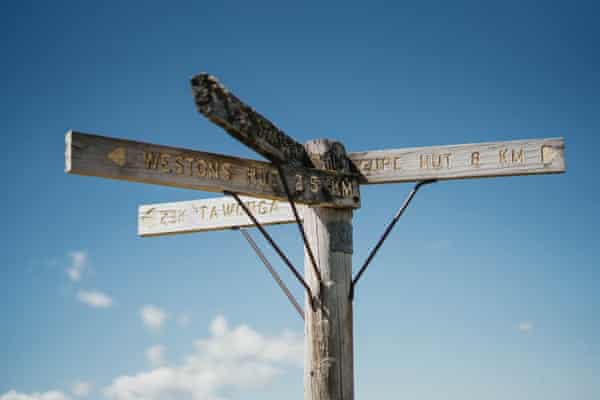 Pole 333, the intersection of four walking trails in the Australian Alps.