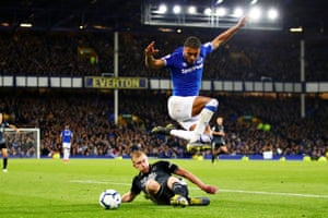 Dominic Calvert-Lewin of Everton jumps over a challenge during a floodlit encounter against Burnley on Friday night. An own goal from Ben Mee followed quickly by a header from Seamus Coleman put Burnley to the sword within the first 20 minutes.