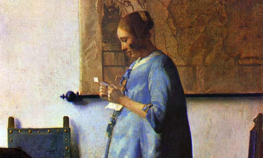 """""""The sun's illumination stealing like the tide across a map to his girl"""" ... Johannes Vermeer's Woman in Blue Reading a Letter, (c1662-1663)."""