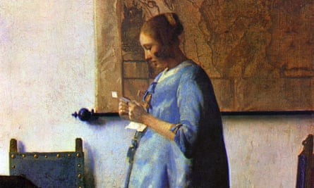 Detail from Vermeer's Woman in Blue Reading a Letter, 1662-1663.
