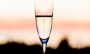 Champagne flute at sunset