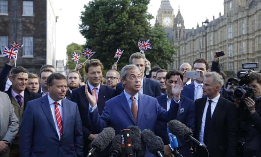 Nigel Farage celebrates the EU referendum result, 24 June 2016