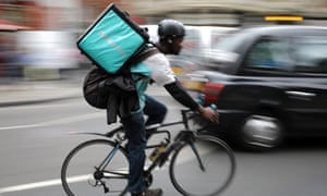 A Deliveroo cyclist in London