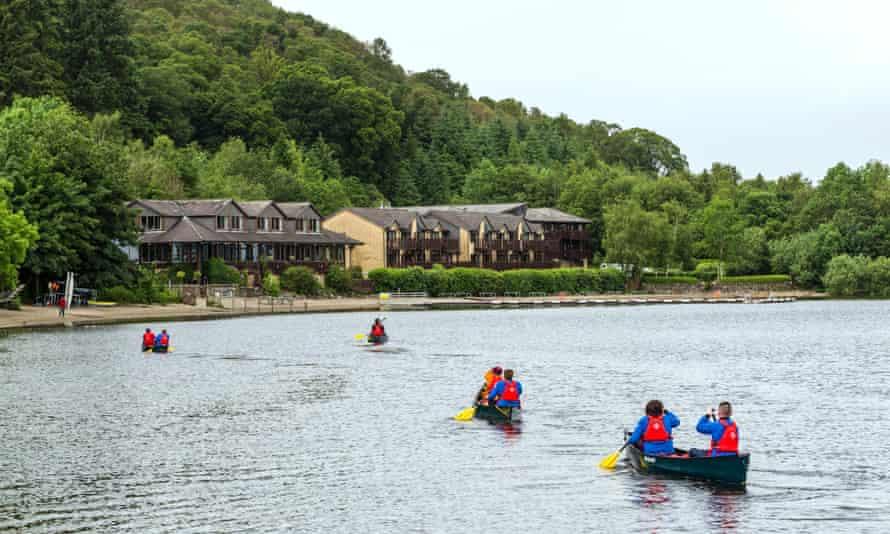 Cruise away: kayaking towards the Lodge on Loch Lomond.