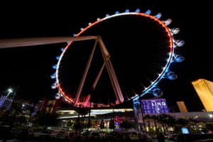 The high roller on the Las Vegas Strip is lit up with the colours of the French flag.