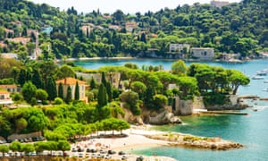 view of luxury resort and bay of Villefranche. Cote d'Azur. french riviera