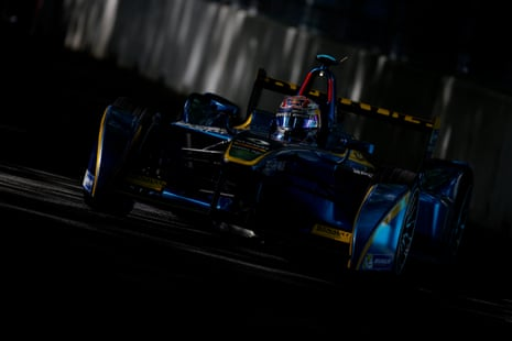 Sebastien Buemi on his way to victory during the FIA Formula E Championship race in Battersea Park