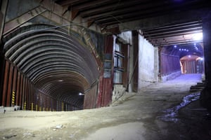 A section of a labyrinth of tunnels under Eastern Ghouta which was use by rebel fighters