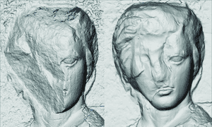 3D model of a figure from the north frieze (original on the left, Elgin cast on the right).