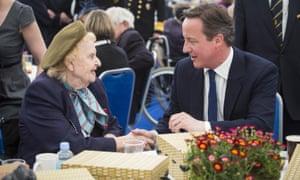 David Cameron speaks to speaks to Helen Taylor Thompson, 90.