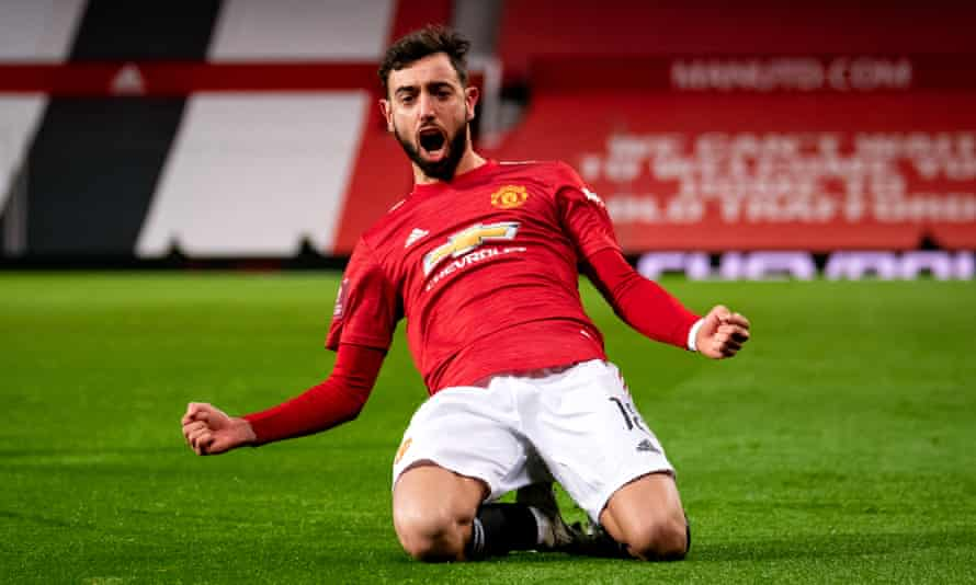 Bruno Fernandes celebrates scoring Manchester United's winner in their FA Cup fourth-round tie against Liverpool at Old Trafford