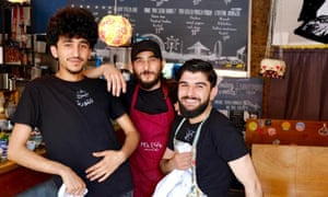 Mohamad Aljasem, Ahmad Al-Haj Ali and Mohamad Rahimeh at the Syrian pop-up restaurant.