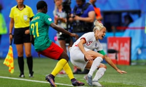 England's Steph Houghton is the victim of a late challenge from Cameroon's Alexandra Takounda.