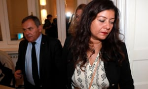Sandra Muller and her lawyer, Francis Szpiner, arrive for a press conference in Paris