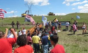 Native Americans protest the Dakota Access oil pipeline
