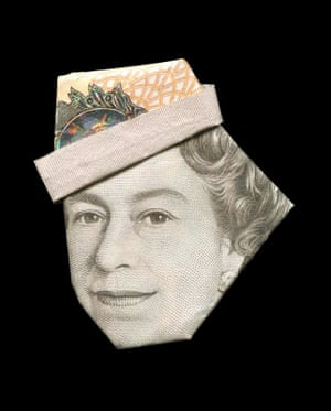 A young Queen Elizabeth II illustrated using banknote origami by Japanese illustrator Yosuke Hasegawa.