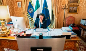 Italy's prime minister, Giuseppe Conte, takes part in the EU summit from Rome.