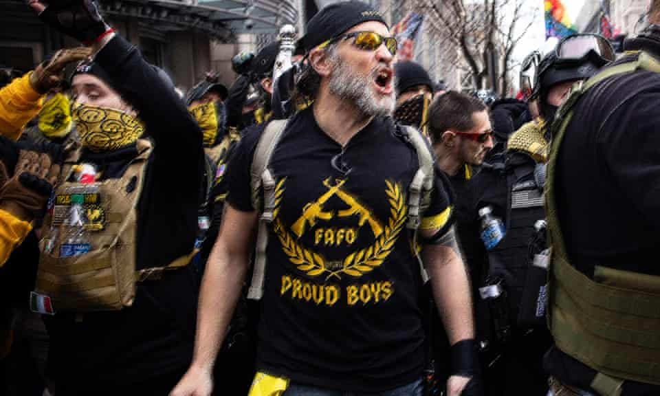 Proud Boys during a rally for Donald Trump in Washington DC in December.