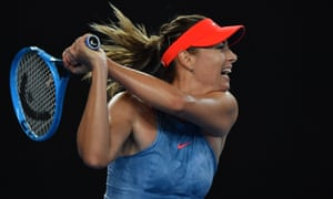 Maria Sharapova bashes a backhand return to Rebecca Peterson.