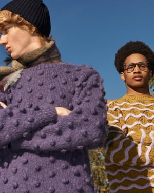 Model on left wears purple bobble jumper, £475, black knitted hat, £95, and brown and beige scarf, £86, all loudalton.com. Model on right wears mustard and white knitted wave jumper, £410, by Acne Studios, from libertylondon.com. Frames, £133, ray-ban.com.