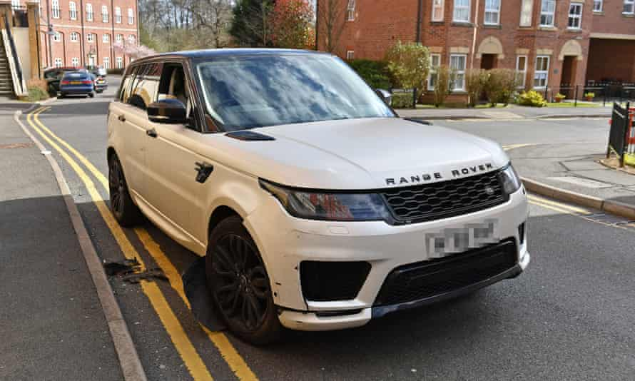 The damaged white Range Rover in the Dickens Heath area of Solihull