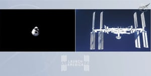A Nasa TV video showing the SpaceX Dragon (R) capsule as it approaches the International Space Station (L).