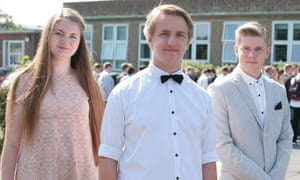 Ellie, Lewis and Cameron at King Ethelbert school's prom in Birchington, Kent.