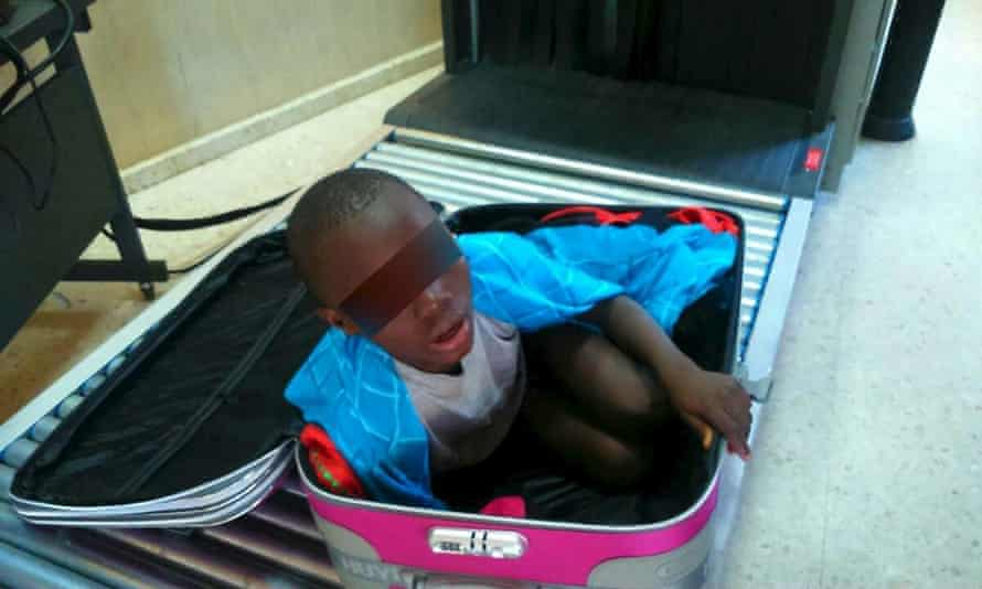 Eight-year-old boy cramped inside suitcase