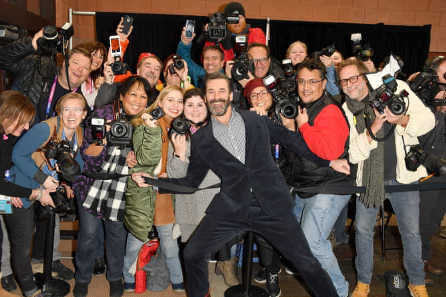 Jon Hamm and photographers at the Sundance premiere of The Report.