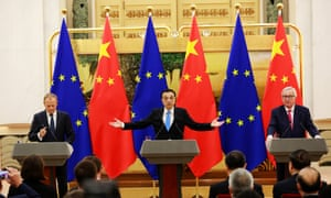 Chinese Premier Li Keqiang (centre), European Council President Donald Tusk (left) and European Commission President Jean-Claude Juncker (right) at a press conference in the Great Hall of the People in Beijing today.