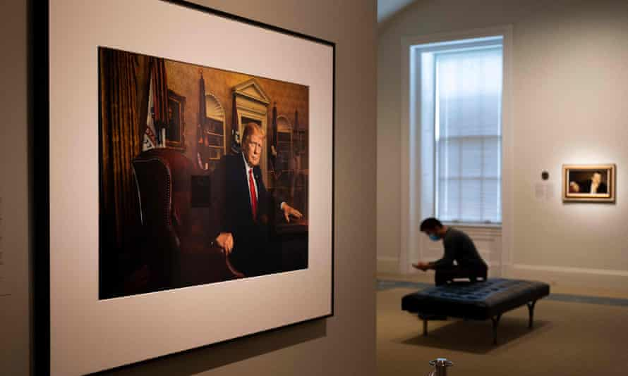 A photo of Donald Trump at the National Portrait Gallery in Washington DC.