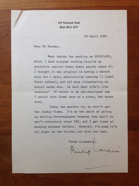 a letter from Philip Larkin to Julian Barnes about Metroland.