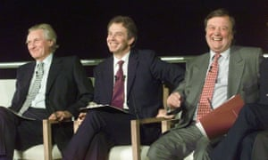 Clarke (right) in 1999 with then prime minister Tony Blair (centre) and Michael Heseltine at the launch of a cross-party Britain in Europe campaign.