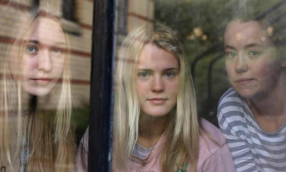 From left, Sonja, Rhianna and Tara, all age 18, tested positive for coronavirus and are self-isolating in Murano student village in Glasgow.