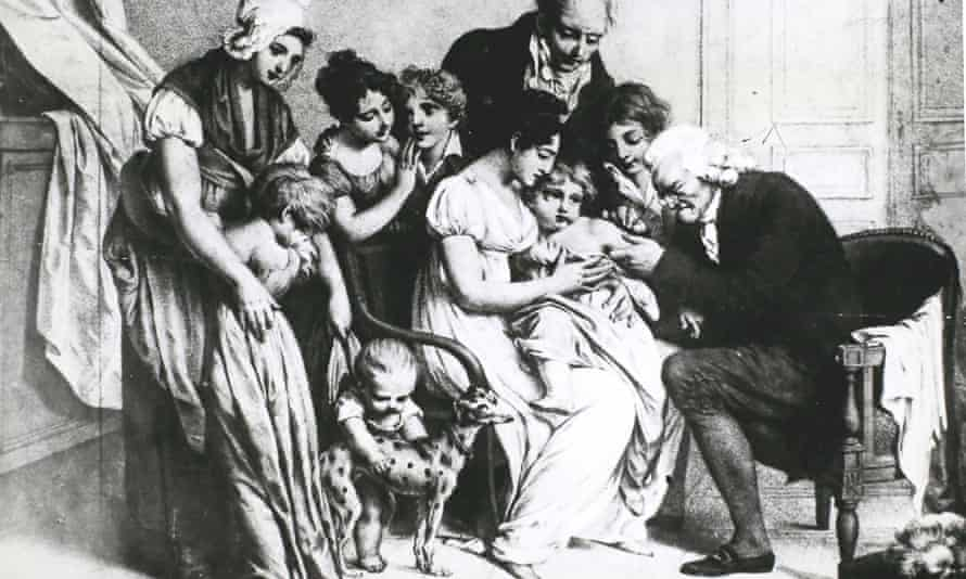 Edward Jenner administering a smallpox vaccine to a child