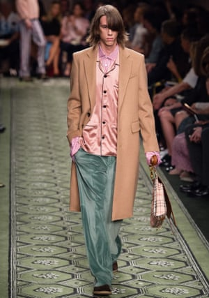 Post-gender? A model walks the runway at the Burberry runway show.