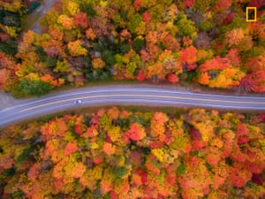 Aerial view of the scenic drive and the beautiful fall foliage of New Hampshire. I used a drone to capture the colours that cannot be seen from the road.