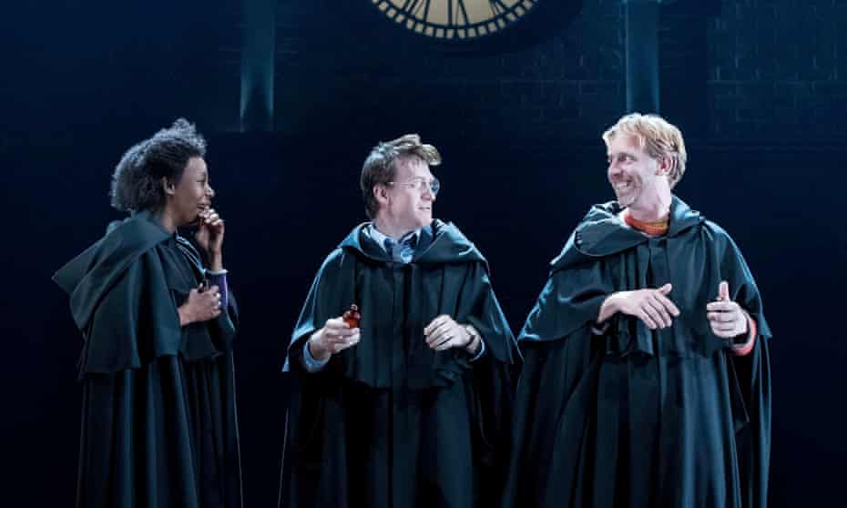 'A stage rippling with change': Noma Dumezweni (Hermione), Jamie Parker (Harry) and Paul Thornley (Ron) in Harry Potter and the Cursed Child.