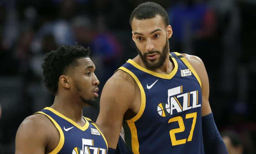 Donovan Mitchell, left, and his teammate Rudy Gobert have both been diagnosed with Covid-19