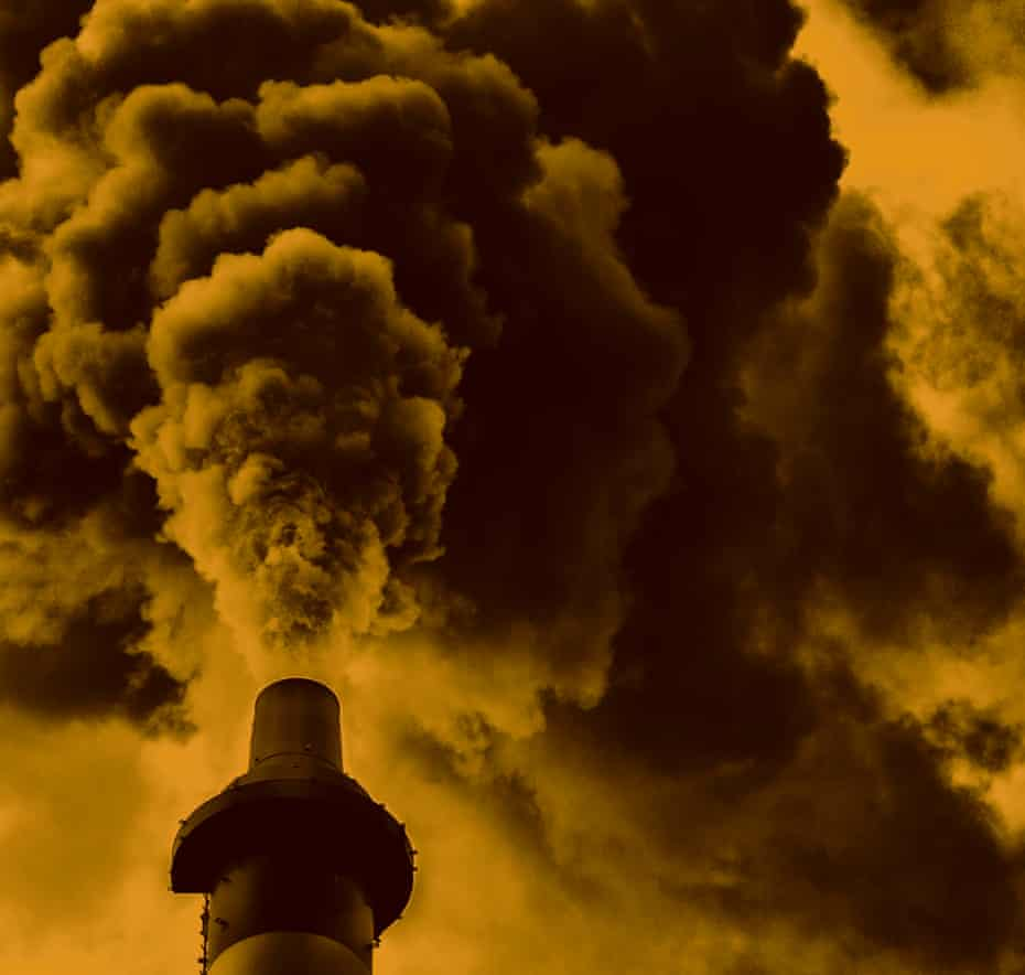 Fossil fuel pollutants billow out into the atmosphere.
