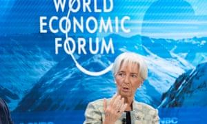 Christine Lagarde speaking in Davos, Switzerland.