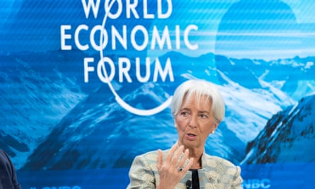 Christine Lagarde speaking in Davos, Switzerland.