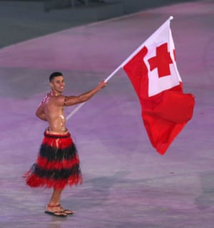 Tonga flag-bearer Pita Taufatofua.
