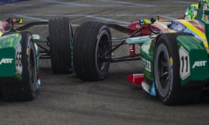 Abt Schaeffler Audi Sport team-mates Daniel Abt, left, and Lucas di Grassi collide during the closing laps.