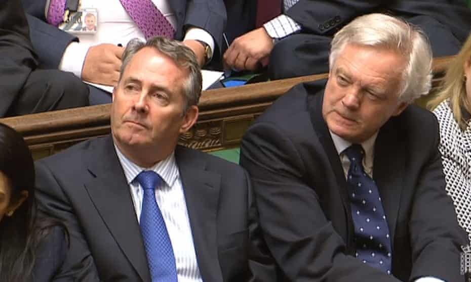 International trade secretary Liam Fox (left) and Brexit secretary David Davis at Theresa May's first prime minister's questions.