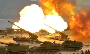 A military drill marking the 85th anniversary of the establishment of the North Korean military.
