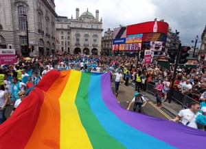 A Giant Rainbow Flag at the Pride London Parade in London where the theme is #nofilter