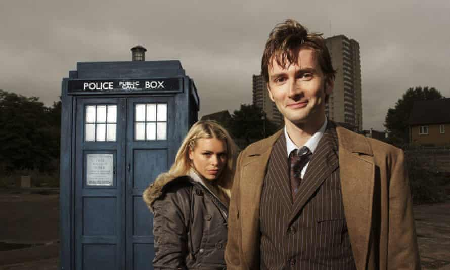 David Tennant as Dr Who with assistant Rose Tyler, played by Billie Piper.